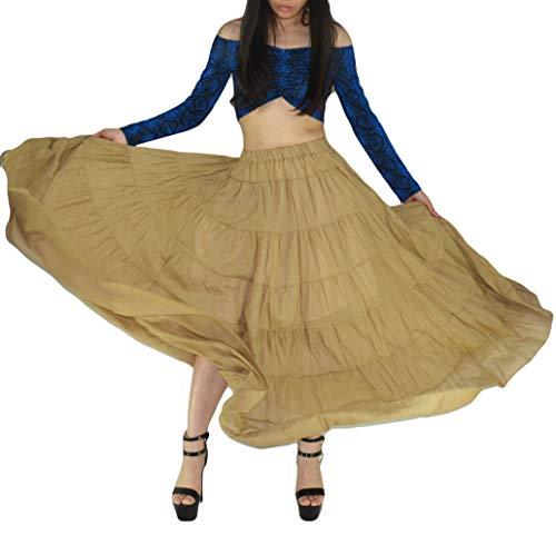 YSJERA Women's Cotton 5 Tiered A Line Pleated Maxi Skirt Long Boho Gypsy Dance Skirts (One Size, A Khaki 37.4