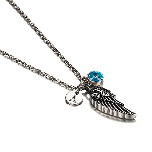Epinki Stainless Steel Rose Angel Wing Letter Q Birthstone December Cubic Zirconia Son Necklace Urn