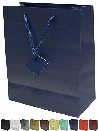 Novel Box® Navy Blue Matte Laminated Euro Tote Paper Gift Bag Bundle 8