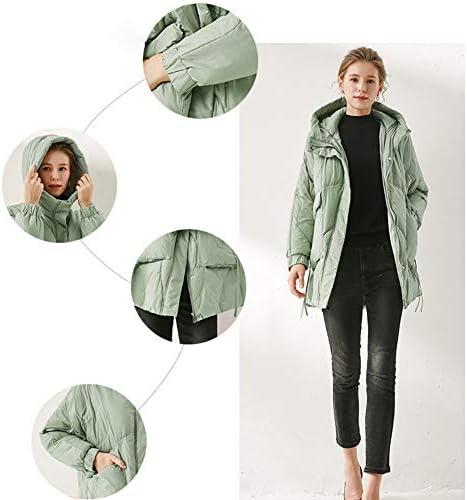 WX-ICZY delle Donne Spesso Strato, Lungo Piumino Caldo e Confortevole Zip Cappotto Coat,Beige,M