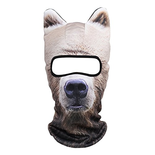 WTACTFUL 3D Animal Ears Balaclava Breathable Cover Hood Face Mask Sun Protection for Skiing Snowmobile Riding Hunting Music Festivals Raves Halloween Party Activities Russian Brown Bear MEB-12 -