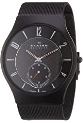 Skagen Men's 805XLTBB Sports Black Titanium Case on Mesh Watch