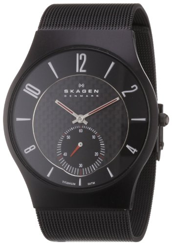 Skagen Men's 805XLTBB Sports Black Titanium Case on Mesh (Skagen Womens Black Mesh Watch)