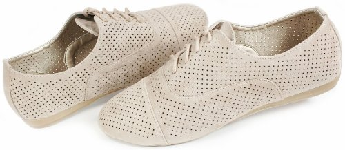 Up 5 Perforated 6 Cutout JJF N35 Breathable Flat Taupe Shoes Oxford Shoes Lace Loafer Comfort 6U6XS8qxw