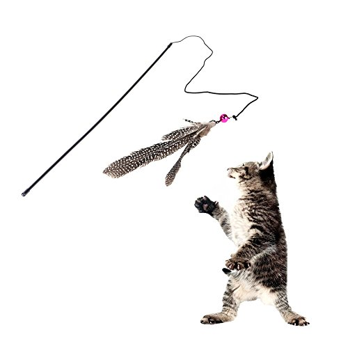 Funny Cat Bell Feather Wire Rod Dangle Flying Playing Toy Supplies for Cats Pet Products (Toy Dangle Bells)