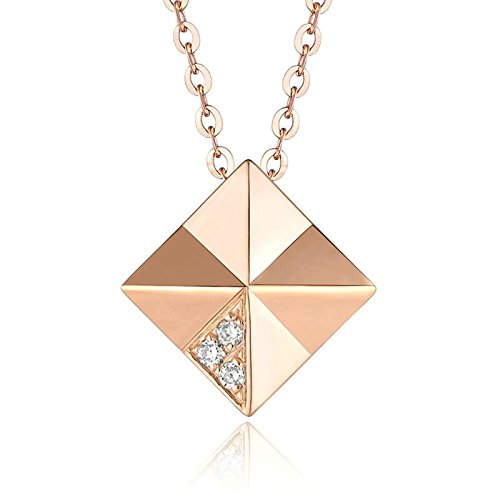 Real 18K Rose Gold Rhombic Shaped Round Cut Diamond Pendant Necklace