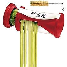 Native Spring Spiral Vegetable Slicer, Hand Held with Cleaning Brush, Zucchini & Carrot Veggie Pasta Maker