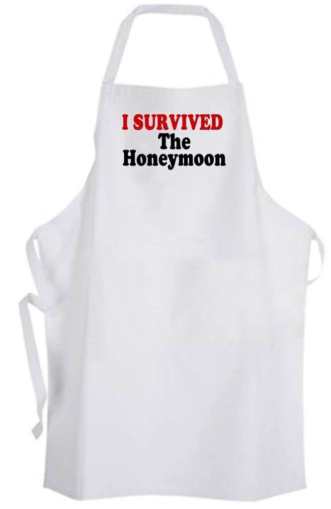 I Survived The Honeymoon – Adult Size Apron – Wedding Marriage Bride Groom