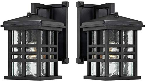 (Ciata Lighting Wall Lanterns | Weather-Resistant Outdoor Lamps | Decorative Scroll Sconce Arm, Scalloped Edges & Clear Beveled Glass for Front Porch, Backyard & Gardens | Pack of 2,)