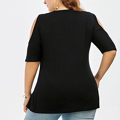 Casual shirt Camicie V Elegante Blusa Grandi Pizzo Sciolto A Di Spalla Tops Dimensioni Unita Scollo Camicetta Cime Tinta Donna Weant Manica Maglietta Corta T Donne Estate Nero Nuda 54qnFH