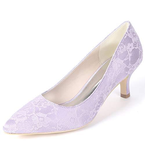 L Bajo Las 6cm Altos Purple Boda Novia Fy160 Gatito Primavera yc Zapatos Básica De Tacones Mujeres Blanco Chunky Verano r4Ivr8q
