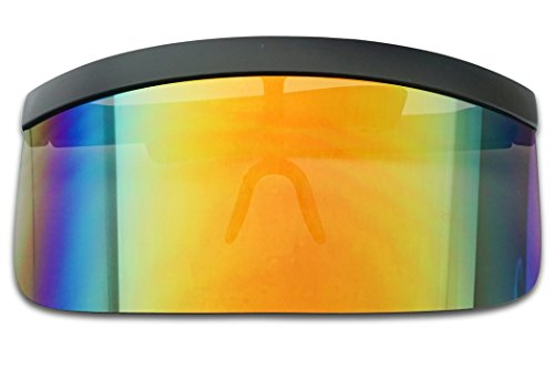 Extra Large Mask Cover Shield Visor Style Sunglasses W/ Flash Mirrored Mono Lens (Matte Black, Fire Red - Visor Mirrored