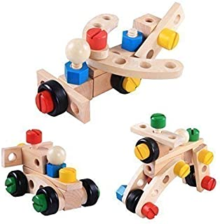 Construction Toys Building Set Wooden 34 pieces. Large chunky colour nuts & bolts tools activities box. Builders construct toy for kids. Educational games learning resources for montessori children.
