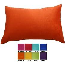 "DreamHome - Solid Faux Suede Decorative Pillow Cover/Sham - 12"" x 18"" (Pumpkin)"