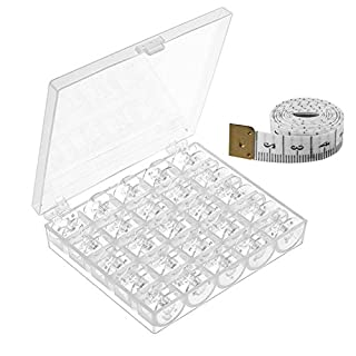 25 Pcs Plastic Sewing Machine Bobbins with Case and Measuring Tape for Brother Singer Babylock Janome Kenmore