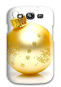 Heimie JaveRmg6629yCble Case Cover Skin For Galaxy S3 (xmas Golden Globe Beautiful White Background Santa Claus Holiday Christmas)
