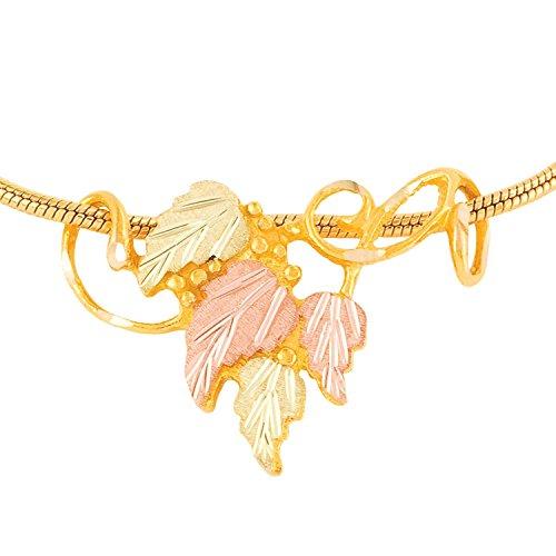 Leaf Pendant Slide Necklace, 10k Yellow Gold, 12k Green and Rose Gold Black Hills Gold, 20