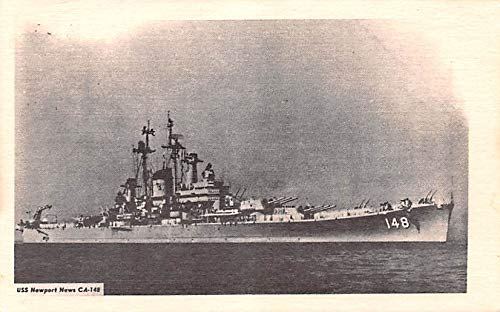 Military Battleship Postcard, Old Vintage Antique Military Ship Post Card USS Newport News CA-148 Unused