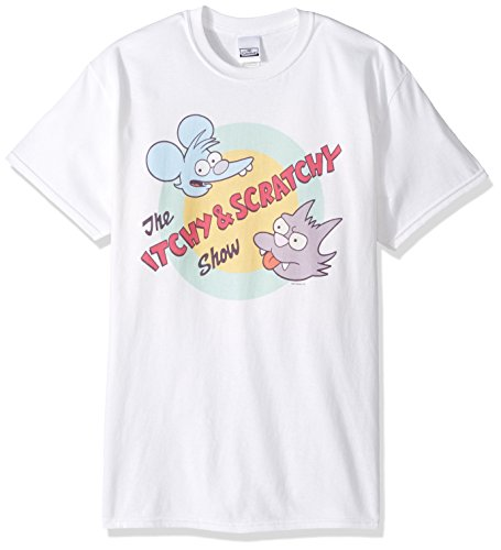 The Simpsons Men's Itchy and Scratchy Show T-Shirt, White, S (Tees Simpsons T-shirts)