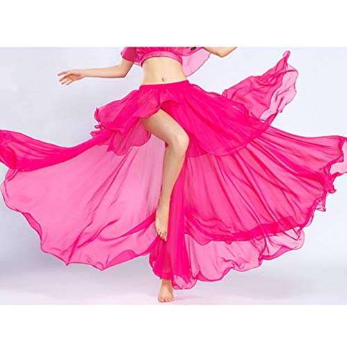 Dancewear One Del Prestazione Fascia Size Danza Gonna Di Big Alta Diviso onesize Per Belly A Wqwlf Swing Rose Chiffon Ventre Donne qnTaWtgwwx