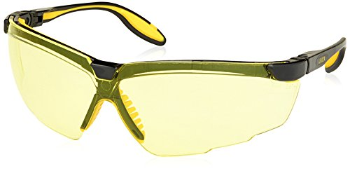 Uvex S3522 Genesis X2 Safety Eyewear, Black and Yellow Frame, Amber Ultra-Dura Hardcoat Lens