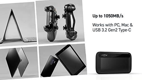 Crucial X8 500GB Portable SSD – Up to 1050MB/s – USB 3.2 – USB-C, USB-A – CT500X8SSD9
