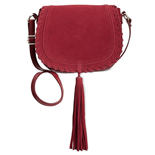 INC Womens Willow Faux Leather Tassel Saddle Handbag Red Medium ()