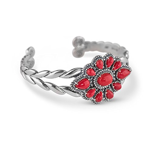 American West Sterling Silver Red Coral Cluster Cuff Bracelet by American West
