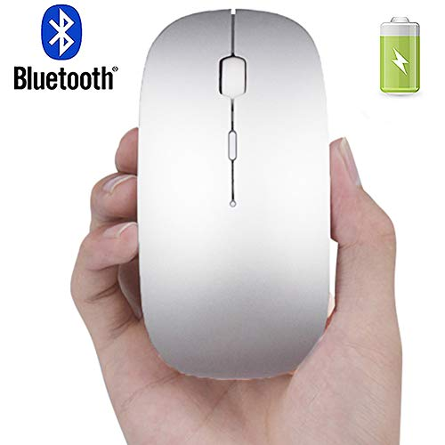 Rechargeable Bluetooth Mouse for Mac iPad MacBook Wireless Bluetooth Mouse for MacBook Pro MacBook Air Windows Silver