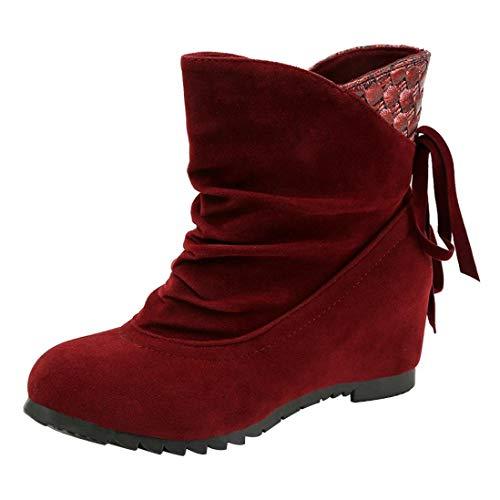 Moda Rojo PAOLIAN Cu Botas Grande ora a Oto Hueco Botines Terciopelo Se 2018 Martin Plano Altos Dama Mujer de Zapatos Calzado Blanda para o de con Talla Suela Verano Casual Bowknot RqdAz