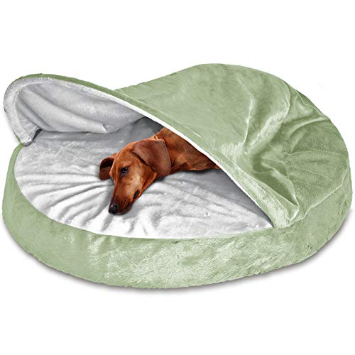 (FurHaven Pet Dog Bed | Orthopedic Round Microvelvet Snuggery Burrow Pet Bed for Dogs & Cats, Sage,)