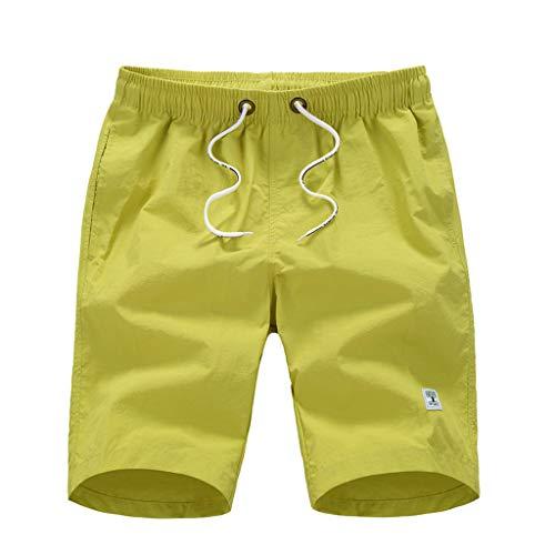 Sunhusing Mens Casual Solid Color Quick-Drying Surf Short Beach Pants Drawstring Lace-Up Pocket Swim Shorts Yellow ()