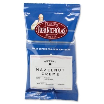 Creme Flavored Regular Coffee (PapaNicholas Coffee Hazelnut Creme-flavored Coffee Ground - Regular - Hazelnut Creme, Arabica Bean - Light/Mild - 18 / Carton)