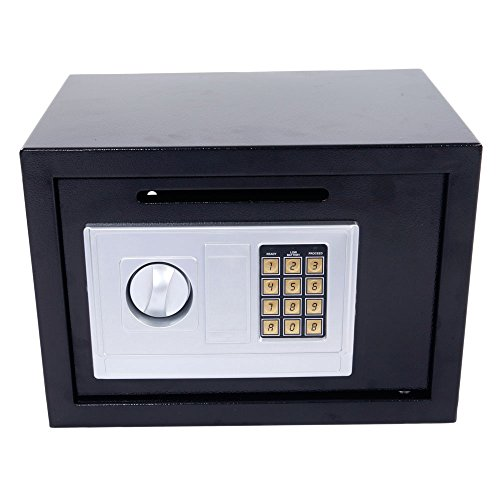 Leadzm Security Box Electronic Digital Lock Steel Safe Strongbox ,Storage Cash Jewelry Document Gun Safe,Theft Proof,For Household Secret Office Travel(Black DS25EA) by LEADZM