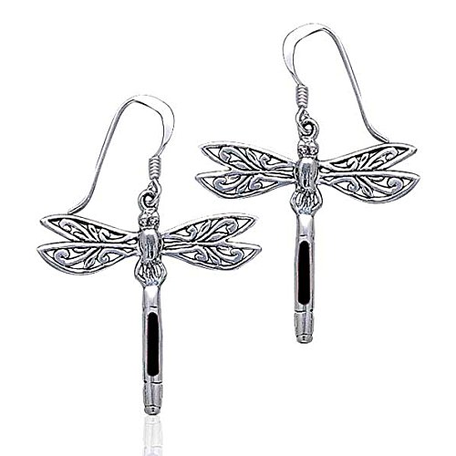 Sterling Silver Filigree Dragonfly Black Stone Inlay Earrings ()