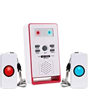 Koranny Wireless Caregiver Pager Personal Call Button Alert System for Home Elderly Patient Nurses Seniors Disabilities, 2 SOS Transmitters & 1 Receivers