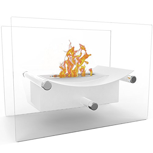 Regal Flame Arkon Ventless Indoor Outdoor Fire Pit Tabletop Portable Fire Bowl Pot Bio Ethanol Fireplace in White - Realistic Clean Burning like Gel Fireplaces, or Propane Firepits ()