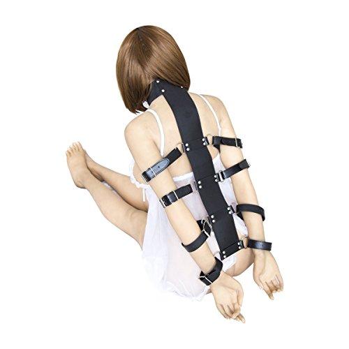 Lononvie Sex PU Bed Straps Bondage Restraints System,Neck Collar with Adjustable 4pcs Handcuffs Back,Couples BDSM Game Kit,Black by Lononvie (Image #2)