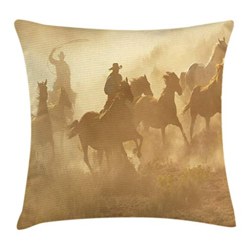 - Ambesonne Western Throw Pillow Cushion Cover, Galloping Running Horses in Desert Two Cowboys Roping Dusty Wild Rural Countryside, Decorative Square Accent Pillow Case, 16 X 16 Inches, Light Brown