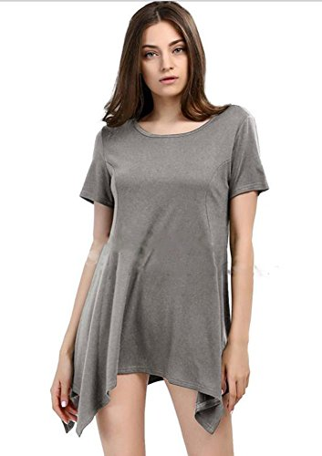 Para Laserjet (SZSM Women's Crew Neck Short Sleeve Swing Tunic Tops Loose Fit Comfy Flattering T Shirt (L, Light gray))