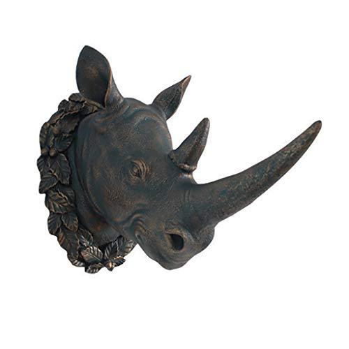 EWADQH European Creative Animal Rhinoceros Head Wall Hanging Living Room Porch Wall Decoration Pendant ()