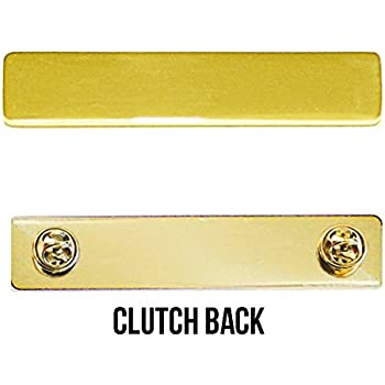 Engraved Metal Name Badges Engraved Metal Security Police Fire Military  Nameplates (Plain Gold, Clutch Backing)