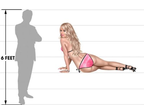 Blonde Bikini Pin Up Girl Wall Skin (Life Size) Blonde Pin Up Girl