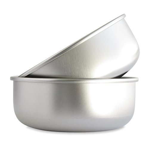 (Basis Pet Made in The USA Stainless Steel Dog Bowl, Large (8 Cups), 2 Pack)