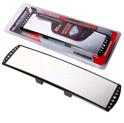 YCL 300mm Interior Clip-on Rear Wide Angle View Curve Mirror (Diamond Style)