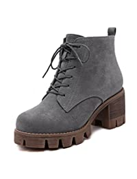 Womens PU Leather Steel Toe Middle Heel Ankle Boots