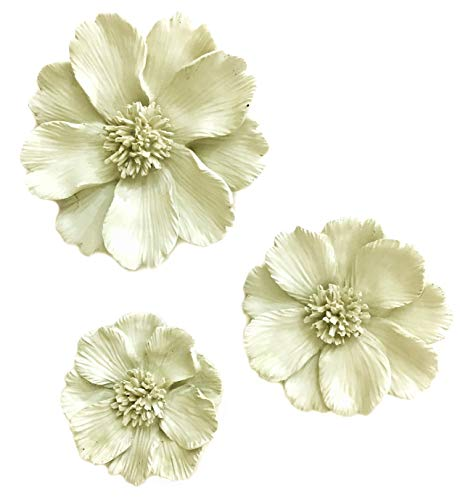 "Bellaa 22717 Floral Wall Sculpture 3D Flower Set of 3 (Beige, 8.5"", 7"", 6"" and 2"" inches Thick)"