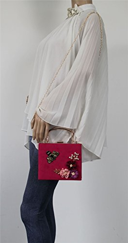 Floral Thea Party Pink Womens Prom Box Bag Fuschia Vintage Swankyswans Suede Clutch Bee T5qx5U