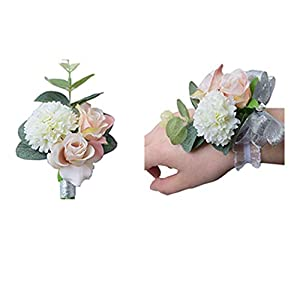 S-SSOY Romantic Wrist Corsage Girl Bridal Bridesmaid Wristband Artificial Flowers Bridegroom Groom Men's Handmade Boutonniere Boutineer for Prom, Party, Wedding, Homecoming Decor Pack of 4