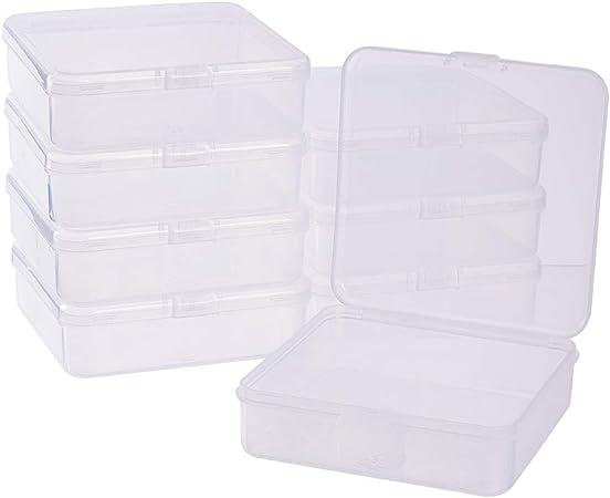 BENECREAT 8 Pack Caja de Almacenamiento de Plástico Transparente con Tapas Abatibles para Pastillas Hierbas Cuentas Pequeñas Tarjetas 10.5x10.5x3cm: Amazon.es: Hogar